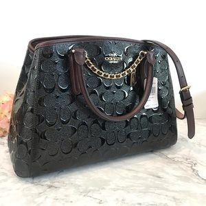Coach Signature Small Margot (Black/Burgundy)